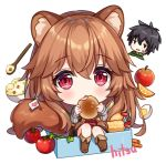 1boy 1girl animal_ear_fluff animal_ears artist_name bangs black_hair blush boots bowl brown_footwear brown_hair chibi commentary egg english_commentary eyebrows_visible_through_hair flag food grey_shirt hair_between_eyes heart hitsukuya holding holding_food iwatani_naofumi long_hair long_sleeves looking_at_viewer minigirl obentou parted_lips raccoon_ears raccoon_girl raccoon_tail raphtalia red_eyes ribbed_shirt rice rice_bowl shirt shrimp shrimp_tempura signature simple_background sitting sleeves_past_wrists solo_focus spoon tail tate_no_yuusha_no_nariagari tempura tomato very_long_hair white_background