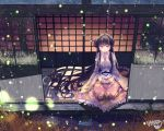 1girl absurdly_long_hair blouse blush bow bowl commentary_request eyebrows_visible_through_hair fireflies fishbowl floral_print from_above grass hair_between_eyes hair_spread_out highres hime_cut holding holding_bowl houraisan_kaguya kemo_chiharu long_hair looking_down night on_floor outdoors pink_blouse print_skirt red_eyes red_skirt seiza shouji sidelocks signature sitting skirt sliding_doors smile solo touhou veranda very_long_hair water_drop white_bow white_neckwear wooden_floor