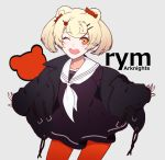 1girl :d ;d animal_ears animal_print arknights bangs bear_ears bear_print black_dress black_jacket blonde_hair blush candy_hair_ornament character_name collarbone commentary copyright_name cowboy_shot dress food_themed_hair_ornament grey_background hair_ornament hairclip highres jacket long_sleeves looking_away nagidori neckerchief one_eye_closed open_mouth orange_eyes pantyhose puffy_long_sleeves puffy_sleeves red_legwear rym_(arknights) sailor_collar sailor_dress short_twintails smile solo twintails white_neckwear white_sailor_collar