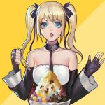 1girl bare_shoulders black_ribbon blonde_hair blue_eyes breasts covered_navel cup dead_or_alive dead_or_alive_5 dead_or_alive_6 detached_sleeves food hair_ornament hair_ribbon ice_cream long_hair1 marie_rose open_mouth phamoz ribbon shaved_ice small_breasts smile solo spoon twintails x_hair_ornament