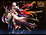 1boy black_background copyright_name detached_sleeves full_body hiro_(pixiv_fantasia_last_saga) holding holding_sword holding_weapon horns looking_at_viewer multicolored_hair nicole_(lion) older pixiv_fantasia pixiv_fantasia_last_saga red_eyes red_nails redhead ripples short_hair_with_long_locks solo standing standing_on_one_leg sword two-tone_hair weapon white_hair