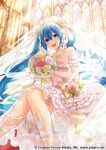 1girl bare_shoulders blue_eyes blue_hair bouquet commentary crypton_future_media dress elbow_gloves flower gari_(apollonica) garters gloves hair_between_eyes hair_flower hair_ornament hatsune_miku highres instrument jewelry lace lace-trimmed_gloves light_rays long_hair looking_at_viewer necklace official_art organ sitting solo stained_glass strapless strapless_dress sunbeam sunlight tiara twintails veil very_long_hair vocaloid wedding_dress window