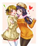! arm_around_waist blush breasts brown_hair cheek-to-cheek closed_mouth fur_hat hat heart koizumi_hanayo long_hair love_live! love_live!_school_idol_project low_twintails medium_breasts multiple_girls off_shoulder one_eye_closed open_mouth pantyhose purple_hair sha short_hair simple_background smile sweater thigh-highs toujou_nozomi twintails violet_eyes yuri