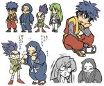 1girl 3boys assisted_exposure bike_shorts blue_eyes blue_hair bodysuit closed_eyes dread ebisumaru fishnet_armwear fishnet_bodysuit fishnets ganbare_goemon goemon green_eyes green_hair greyscale head_in_hand japanese_clothes kimono kunai long_hair low-tied_long_hair mask mechanical_hands monochrome multiple_boys ninja open_mouth purple_hair robot robot_ears sash sasuke_(ganbare_goemon) short_kimono sitting skirt skirt_lift spiky_hair sweatdrop thick_eyebrows thigh-highs topknot user_symz7244 very_long_hair weapon yae_(ganbare_goemon) zettai_ryouiki