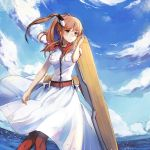 1girl anchor blue_eyes blue_sky breast_pocket breasts brown_hair clouds commentary_request day dress fisheye flight_deck hair_between_eyes hair_ornament highres horizon kantai_collection large_breasts neckerchief outdoors pocket ponytail red_legwear red_neckwear saratoga_(kantai_collection) side_ponytail sidelocks sky smokestack solo thigh-highs white_dress yorktown_cv-5
