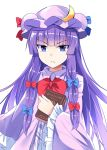 >:( 1girl :< bangs blue_bow blue_eyes blue_ribbon blunt_bangs book bow bowtie commentary_request crescent crescent_hair_ornament dress e.o. eyebrows_visible_through_hair frilled_sleeves frills hair_bow hair_ornament hat hat_ribbon highres holding holding_book long_hair long_sleeves looking_at_viewer mob_cap patchouli_knowledge purple_dress purple_hair purple_headwear red_bow red_neckwear red_ribbon ribbon sidelocks simple_background solo touhou tsurime upper_body very_long_hair white_background wide_sleeves