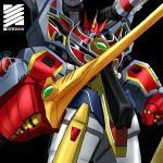 1boy absurdres armor black_background cannon character_name character_request drill full_powered_gridman glowing glowing_eye gridman_(ssss) gridman_calibur helmet highres holding holding_sword holding_weapon horns male_focus mecha no_humans ryuzaki-kaito ssss.gridman standing sword title visor weapon yellow_eyes