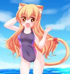 1girl :d animal_ears arm_up bangs bare_arms bare_shoulders blonde_hair blue_sky blush breasts cat_ears cat_girl cat_tail clouds competition_swimsuit covered_navel day eyebrows_visible_through_hair fang groin hair_between_eyes hand_behind_head hand_up highres horizon kanijiru large_breasts long_hair ocean one-piece_swimsuit open_mouth original outdoors purple_swimsuit red_eyes red_ribbon ribbon sky smile solo standing swimsuit tail tail_raised tail_ribbon very_long_hair wading water wavy_hair