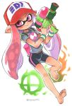 barefoot bike_shorts blush bracelet domino_mask highres inkling jewelry looking_at_viewer mask midriff_peek navel oyatsu_(mk2) pink_eyes pink_hair pointy_ears shirt smile splatoon_(series) t-shirt tentacle_hair