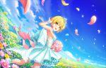blonde_hair bouquet dress green_eyes idolmaster_cinderella_girls_starlight_stage miyamoto_frederica short_hair smile veil wedding