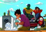 3boys alcohol arms_behind_head bald beer black_hair car casual denim dragon_ball dragon_ball_z green_skin ground_vehicle hat highres jeans motor_vehicle multiple_boys muscle open_mouth pants piccolo pointy_ears shirt short_hair smile son_gokuu spiky_hair talez01 vegeta wristband