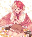1girl :d animal_background arms_up bird bird_tail bird_wings blonde_hair blush boots brown_dress brown_footwear chick commentary_request dress feathered_wings hair_between_eyes heart holding_bird kemo_chiharu layered_dress looking_down multicolored_hair niwatari_kutaka open_mouth puffy_short_sleeves puffy_sleeves red_eyes red_neckwear redhead short_hair short_sleeves signature sitting smile solo touhou two-tone_hair wariza white_background wings