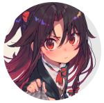 1girl black_hair blush bow close-up closed_mouth eyebrows_visible_through_hair hair_bow looking_at_viewer multicolored_hair red_bow red_eyes red_neckwear redhead ryuuou_no_oshigoto! shirabi solo two-tone_hair upper_body yashajin_ai