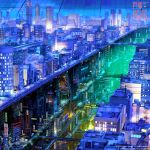 arsenixc bridge building city city_lights cityscape copyright_name dark dome ground_vehicle lamppost neon_lights night no_humans original road scenery science_fiction sign skyscraper steam street train