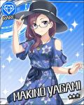 blush character_name glasses idolmaster idolmaster_cinderella_girls long_hair purple_haur smile stars violet_eyes yagami_makino