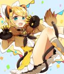 1girl amulet animal_ears asagao_minoru belt_collar between_legs black_bow blonde_hair blue_eyes blush bow bowtie brown_jacket claw_pose collar confetti feet_out_of_frame flag frilled_skirt frills fur-trimmed_jacket fur_trim gloves hair_bow hair_ornament hairclip highres jacket kagamine_rin knees_up looking_at_viewer magical_mirai_(vocaloid) open_mouth short_hair sitting skirt socks solo tail tail_between_legs thighs vocaloid white_bow