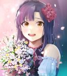 1girl :d bouquet braid brown_eyes detached_sleeves flower highres hinoshita_akame holding holding_bouquet idolmaster idolmaster_million_live! long_hair looking_at_viewer nanao_yuriko neck_ribbon open_mouth pink_ribbon purple_hair ribbon shiny shiny_hair short_sleeves smile solo upper_body white_flower white_sleeves