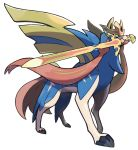 blue_fur no_humans official_art pokemon pokemon_(game) pokemon_swsh sword sword_in_mouth weapon wolf zacian