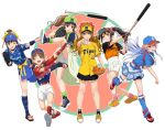 6+girls :d ;d asymmetrical_legwear ball bangs baseball baseball_cap baseball_mitt baseball_uniform belt bike_shorts black_gloves black_hair black_shorts blue_eyes blue_hair blue_headwear blue_legwear blue_shirt blue_shorts blue_sleeves blunt_bangs bow brown_eyes brown_hair character_request chunichi_dragons closed_mouth copyright_request eyebrows_visible_through_hair floating_hair full_body gloves green_eyes green_legwear hair_between_eyes hair_bow hamaguchi_ayame hat high_ponytail highres holding holding_ball idolmaster idolmaster_cinderella_girls layered_skirt leg_up leg_warmers long_hair looking_at_viewer miniskirt multicolored_hair multiple_girls nigou ninomiya_asuka nippon_professional_baseball one_eye_closed open_mouth outstretched_arm pink_eyes ponytail red_bow red_footwear scrunchie shirt shoes short_shorts short_sleeves short_twintails shorts shorts_under_skirt sidelocks simple_background skirt smile sneakers socks sportswear standing standing_on_one_leg takamori_aiko tied_hair tied_shirt tokyo_yakult_swallows twintails two-tone_hair white_background white_shorts yellow_bow yokohama_dena_baystars