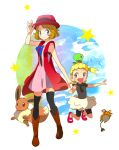 2girls :d asymmetrical_hair bike_shorts black_legwear black_shirt black_shorts blonde_hair blue_eyes blue_ribbon boots brown_footwear brown_hair character_request closed_mouth dress eevee full_body hat jumping looking_at_viewer multiple_girls neck_ribbon open_mouth outstretched_arm pink_dress pokemon pokemon_(anime) pokemon_on_head popcorn_91 red_headwear ribbon serena_(pokemon) shirt short_dress short_hair short_sleeves shorts sleeveless sleeveless_dress smile standing thigh-highs white_background zettai_ryouiki