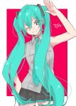 1girl 39 ;) armpit_peek armpits bare_arms bare_shoulders black_skirt blue_eyes blue_hair blue_neckwear breasts cowboy_shot curly_hair eyebrows_visible_through_hair eyelashes grey_shirt hair_between_eyes hand_on_hip hand_up hatsune_miku head_tilt long_hair looking_at_viewer mope necktie one_eye_closed pink_background pleated_skirt rectangle salute shirt simple_background skirt sleeveless sleeveless_shirt small_breasts smile solo standing thigh-highs twintails two-tone_background very_long_hair vocaloid white_background zettai_ryouiki