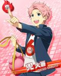 blue_eyes character_name dress idolmaster idolmaster_side-m kabuto_daigo pink_hair short_hair smile