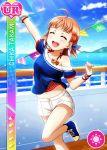 blush character_name closed_eyes dress love_live!_school_idol_festival love_live!_sunshine!! orange_hair short_hair smile takami_chika