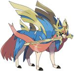 blue_fur holding holding_sword holding_weapon no_humans official_art pokemon pokemon_(creature) pokemon_(game) pokemon_swsh sword sword_in_mouth transparent_background weapon wolf yellow_eyes zacian