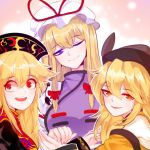 3girls :d armpits bangs bare_shoulders blonde_hair bow chinese_clothes closed_mouth crossed_bangs detached_sleeves eyebrows_visible_through_hair hair_bow hair_ribbon hat hat_ribbon holding_hands junko_(touhou) long_hair long_sleeves looking_at_another looking_at_viewer looking_to_the_side matara_okina mindoll mob_cap multiple_girls one_eye_closed open_mouth orange_eyes pom_pom_(clothes) portrait red_bow red_eyes red_ribbon ribbon sidelocks smile tabard touhou violet_eyes wide_sleeves yakumo_yukari