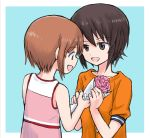 2girls bangs blue_background bouquet brown_eyes brown_hair commentary eyebrows_visible_through_hair flower girls_und_panzer holding holding_bouquet looking_at_another multiple_girls mutsu_(layergreen) nishizumi_maho nishizumi_miho open_mouth orange_sky outside_border pink_shirt shirt short_hair short_sleeves siblings sisters sky smile tank_top younger