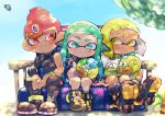 1boy 2girls aqua_hair bike_shorts black_footwear black_pants blonde_hair blue_eyes boots closed_mouth denchinamazu domino_mask headgear inkling kirikuchi_riku long_hair long_sleeves mask mohawk multiple_girls octarian octoling pants pink_hair red_eyes shoes short_hair single_bare_shoulder single_sleeve single_vertical_stripe sitting smile splatoon_(series) splatoon_2 splatoon_2:_octo_expansion squidbeak_splatoon stuffed_toy suction_cups tentacle_hair yellow_eyes zipper zipper_pull_tab