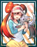 1girl ;d bright_pupils brown_hair double_bun gen_5_pokemon grey_eyes hair_between_eyes highres kamegou mei_(pokemon) minccino one_eye_closed open_mouth pokemon pokemon_(creature) pokemon_(game) pokemon_bw2 raglan_sleeves shirt shorts sleeves_past_elbows smile striped striped_background twintails visor_cap white_headwear white_pupils yellow_shorts