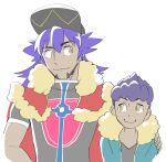 2boys arm_around_shoulder black_shirt blue_jacket brothers cape closed_mouth dande_(pokemon) dark_skin dark_skinned_male fur_trim hat height_difference hop_(pokemon) jacket jersey looking_at_another male_focus multiple_boys pokemon pokemon_(game) pokemon_swsh purple_hair red_cape shirt siblings simple_background smile soccer_uniform sportswear upper_body white_background