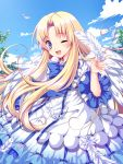 ;) ayamisiro blonde_hair blue_eyes blue_sky blush dress feathers firo_(tate_no_yuusha_no_nariagari) highres long_hair one_eye_closed ribbon sky smile tate_no_yuusha_no_nariagari wings