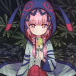 1girl blue_eyes blush braid closed_mouth commentary food fruit highres holding holding_food hood hood_up hooded_jacket hoodie ice_cream jacket kaf kiwi_slice lamp long_hair long_sleeves looking_at_viewer low_twin_braids mareep15 multicolored multicolored_eyes open_clothes pink_hair plant popsicle red_eyes smile solo twin_braids virtual_kaf virtual_youtuber wide_sleeves yellow_eyes