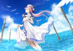 1girl aria bird blue_ribbon blue_sky closed_eyes closed_mouth clouds day dress hat hat_ribbon highres long_dress long_hair mamo_(fortune-mm) mizunashi_akari ocean outdoors pink_hair profile ribbon shirt short_sleeves skirt_hold sky smile soaking_feet solo sparkle white_dress white_headwear white_shirt