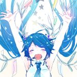 1girl ^_^ ^o^ arms_up blue_hair cheering closed_eyes happy hatsune_miku kuronyanko open_mouth outstretched_arms star teeth twintails vocaloid white_background