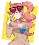 1girl absurdres aqua_eyes breasts brown_coat coat english_commentary eyebrows_visible_through_hair eyewear_on_head heart highres long_hair long_sleeves nail_polish pink_hair pokemon pokemon_(game) pokemon_swsh seesaw_yt side_ponytail smile sonia_(pokemon) sparkle sunglasses trench_coat