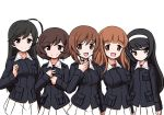 5girls aegis_(nerocc) ahoge akiyama_yukari bangs black_eyes black_hair blue_jacket blunt_bangs brown_eyes brown_hair clenched_hand closed_mouth commentary_request eyebrows_visible_through_hair girls_und_panzer hairband hand_on_own_throat isuzu_hana jacket light_frown long_hair long_sleeves looking_at_viewer military military_uniform miniskirt multiple_girls nishizumi_miho ooarai_military_uniform open_mouth orange_eyes orange_hair pleated_skirt reizei_mako short_hair simple_background skirt sleeve_tug smile standing swept_bangs takebe_saori throat_microphone uniform white_background white_hairband white_skirt