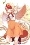 1girl \m/ animal animal_on_head arm_up bangs bird blonde_hair blush boots breasts brown_footwear chick commentary_request covered_navel dress eyebrows_visible_through_hair feathered_wings feet_out_of_frame hair_between_eyes highres looking_at_viewer multicolored_hair neck_ribbon niwatari_kutaka on_head orange_dress puffy_short_sleeves puffy_sleeves rankasei red_eyes red_neckwear red_ribbon redhead ribbon shirt short_hair short_sleeves simple_background small_breasts smile solo standing standing_on_one_leg tail_feathers touhou two-tone_hair white_background white_shirt wings yellow_wings