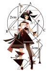 1girl appi523 bangs black_hair blunt_bangs circle expressionless full_body geometry highres looking_at_viewer math number original red_eyes short_hair simple_background sleeveless solo standing white_background