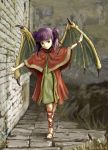 1girl bachium brick_wall dragon_girl dragon_wings dress fire_emblem fire_emblem:_seima_no_kouseki fire_emblem_heroes highres looking_to_the_side mamkute myrrh purple_hair red_dress red_eyes red_shawl red_wristband sandals smile twintails walking wings