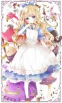 1girl absurdres alice_(wonderland) alice_in_wonderland animal apron bangs bird black_headwear black_pants black_ribbon blonde_hair blue_dress blue_eyes blue_ribbon blush braid brown_footwear card cat caterpillar_(wonderland) cheshire_cat closed_mouth collared_dress commentary diamond_(shape) dress evil_grin evil_smile eyebrows_visible_through_hair flamingo flower frilled_apron frills full_body green_vest grin hair_ornament hair_ribbon hat head_tilt heart heart_hair_ornament highres humpty_dumpty loafers long_hair mad_hatter maid_apron mushroom neck_ribbon pants pantyhose playing_card pocket_watch puffy_short_sleeves puffy_sleeves rabbit red_flower red_rose ribbon rose sharp_teeth shirt shoes short_sleeves smile spade_(shape) standing teeth top_hat tsukiyo_(skymint) very_long_hair vest watch white_apron white_legwear white_rabbit white_shirt