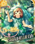 brown_eyes brown_hair character_name costume idolmaster idolmaster_cinderella_girls short_hair smile stars ueda_suzuho