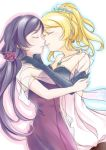 2girls ayase_eli bare_shoulders blonde_hair blush breasts closed_eyes dress earrings elbow_gloves flower gloves hair_flower hair_ornament hand_on_another's_shoulder high_ponytail jewelry large_breasts long_hair love_live! love_live!_school_idol_project multiple_girls necklace outline ponytail purple_dress purple_hair shawl simple_background starry_sky_print toujou_nozomi yaegashiharuki yuri