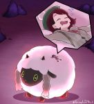 1girl animal_ears blush brown_hair cardigan closed_eyes dark_skin dress dynamax female_protagonist_(pokemon_swsh) full_body gen_8_pokemon green_headwear grey_cardigan grimmelsdathird hair_ornament happy hat highres horns long_sleeves open_mouth pokemon pokemon_(creature) pokemon_(game) pokemon_swsh sheep sheep_ears short_hair sleeping smile tam_o'_shanter wooloo yellow_sclera