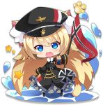 1girl animal_ears artist_request azur_lane belt black_legwear blonde_hair blue_eyes blush cat_ears cat_tail character_request chibi eyebrows_visible_through_hair flag holding holding_flag long_hair long_sleeves looking_at_viewer official_art open_mouth pantyhose smile solo star tail transparent_background water