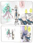 1boy 1other 2girls armor blue_scarf brown_gloves fire_emblem fire_emblem:_kakusei fire_emblem_heroes fire_emblem_if gloves green_eyes green_hair hair_bun hood hood_up kanna_(female)_(fire_emblem_if) kanna_(fire_emblem_if) kanna_(male)_(fire_emblem_if) long_sleeves mamkute multiple_girls naga_(fire_emblem) open_mouth pointy_ears robaco robe scarf short_hair summoner_(fire_emblem_heroes) tears twitter_username white_hair