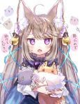 1girl animal animal_ear_fluff animal_ears bell brown_hair cape chestnut_mouth commentary_request fang fox fox_ears fox_girl hair_bell hair_ornament highres holding holding_animal jingle_bell long_hair long_sleeves original rukako shirt sketch skirt sweatdrop translation_request twintails violet_eyes