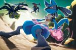 commentary garchomp gen_4_pokemon giratina lucario no_humans official_art pokemon pokemon_(game) pokemon_dppt pokemon_trading_card_game
